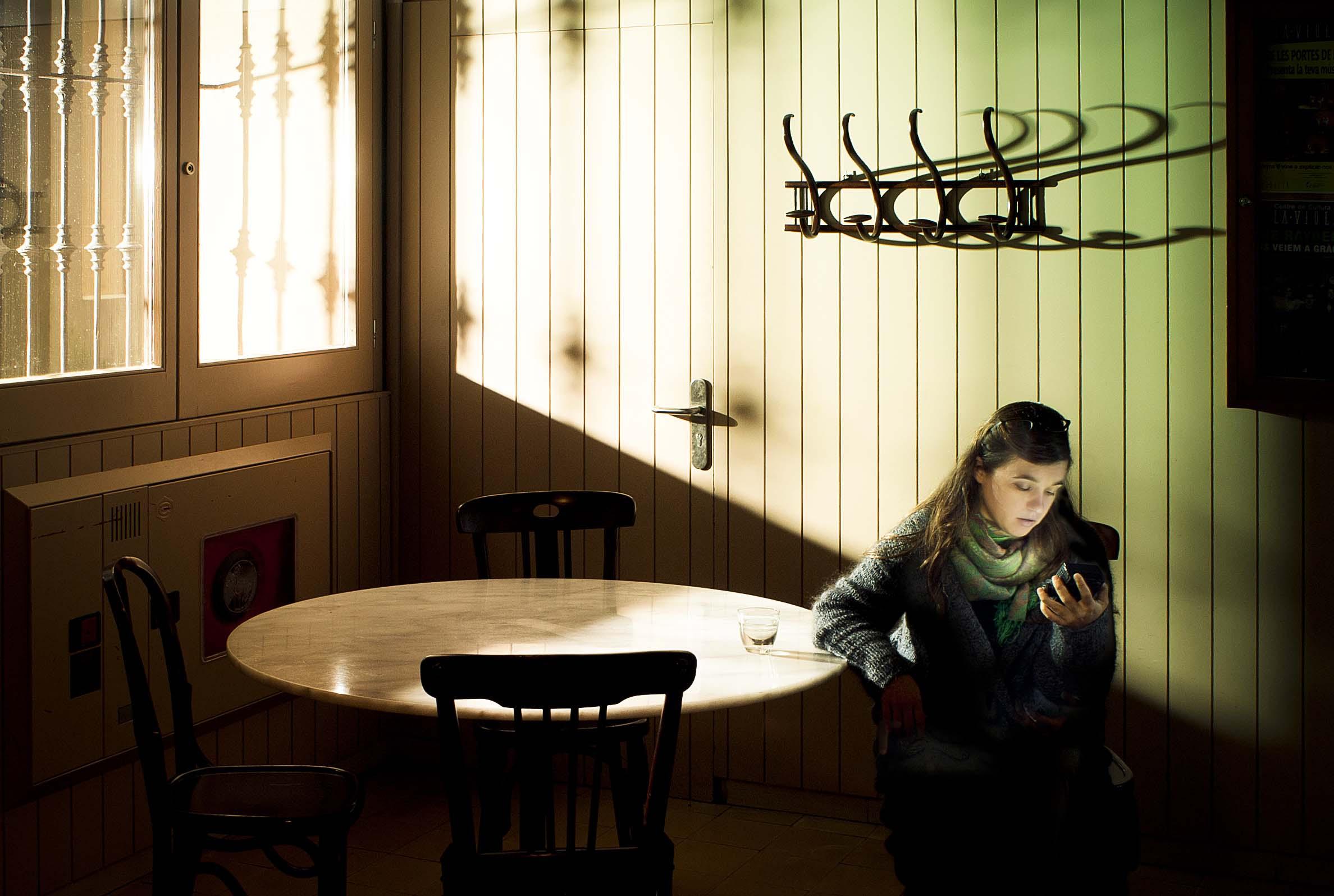 Patricia en la Violeta, un emblemático lugar del Barrio de Gracia.