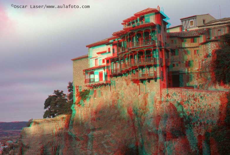 España en 3D. Cuenca. Casas colgadas.