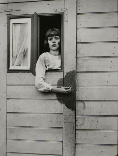 August Sander Young Girl in Circus Wagon 1929