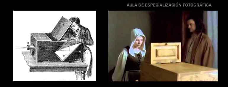 """La cámara oscura utilizada por pintores. A la izquierda una escena de """"La joven de la perla"""" en donde Vermeer le muestra a su criada, Scarlett Johansson"""