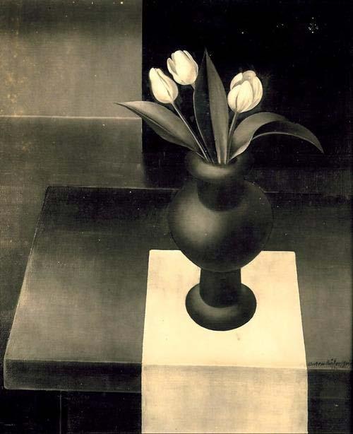 Bodegón con tulipanes de Anton Rädersheidt, alrededor del año 1920.